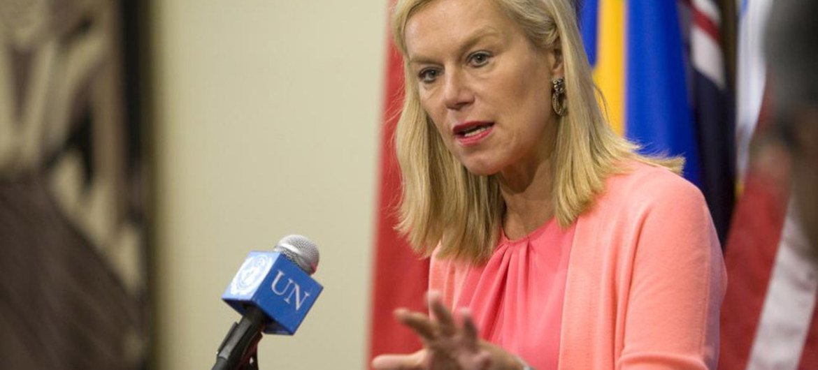 Special Coordinator of the Joint Mission of the Organization for the Prohibition of Chemical Weapons and the UN (OPCW-UN) Sigrid Kaag briefs reporters.