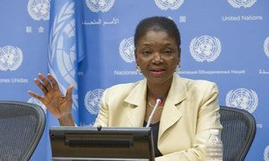Under-Secretary-General for Humanitarian Affairs, Valerie Amos, speaks to journalists on the humanitarian situation in Syria.