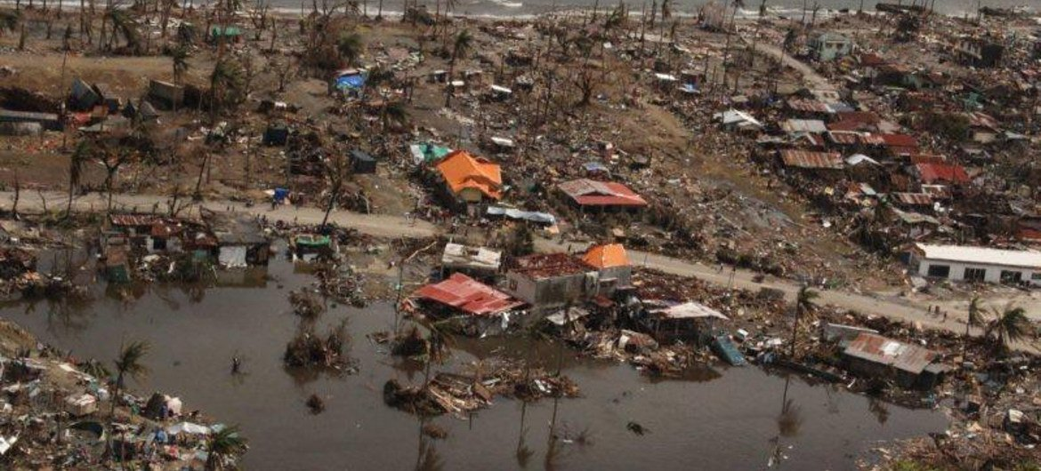 Tacloban City, Philippines, was severely hit by Typhoon Haiyan when it hit the Philippines on 8 November 2013.