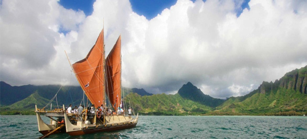 Polynesian canoe voyage among the small island developing states in the Pacific.