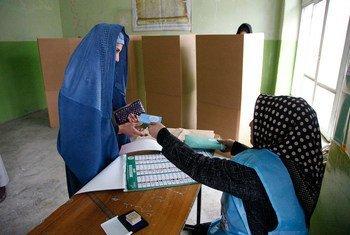 Le 5 avril, un bureau de vote à Kaboul, en Afghanistan. Photo MANUA/Fardin Waezi