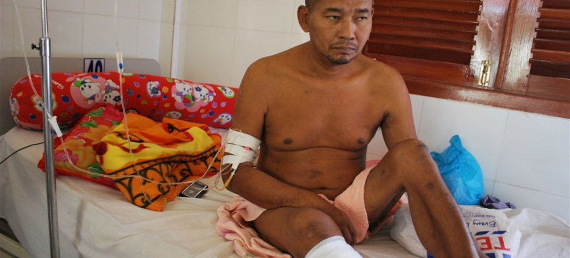 A 46-year-old Cambodian man who lost his leg to diabetes. The annual global death toll from non-communicable diseases such as cancer, diabetes and heart disease, is estimated at 36 million.