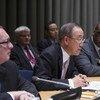 El Secretario General de la ONU   Ban Ki-moon durante un acto de la Asamblea General  Foto archivo: ONU/ Eskinder Debebe