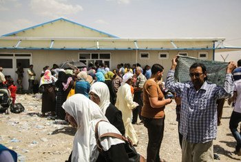 Des Iraquiens déplacés en route vers Erbil.