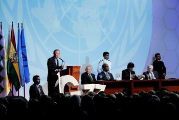Secretary-General Ban Ki-moon addressing a summit of G77 plus China in Santa Cruz, Bolivia.