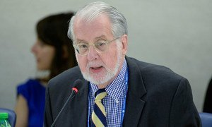 Chair of the Independent International Commission of Inquiry on Syria, Paulo Pinheiro, makes presentation to the UN Human Rights Council in Geneva.