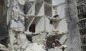 A damaged building in Aleppo City, Syria.