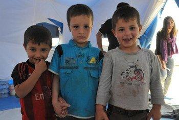 Des enfants dans le camp de déplacés de Khazar dans la région du Kurdistan en Iraq. Photo MANUI
