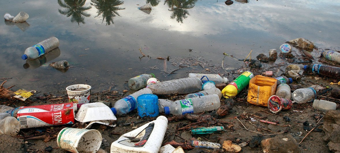 Plastic bottles and garbage waste from a village in Timor-Leste wash on the shores of a river and then spill into the sea.