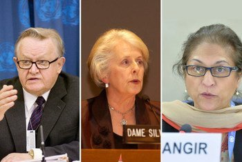 Former Finnish President and Nobel Peace Prize laureate Martti Ahtisaari, former Governor-General and High Court judge of New Zealand Silvia Cartwright (center) and former President of Pakistan's Human Rights Commission Asma Jahangir (right ).