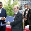 FAO's Director-General with the Minister of Agriculture of Equatorial Guinea, Alfredo Mitogo Mitogo.