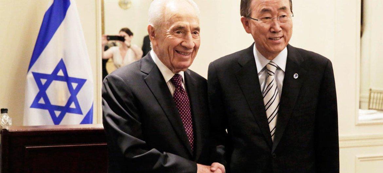 Secretary-General Ban Ki-moon meets with President Shimon Peres of Israel.