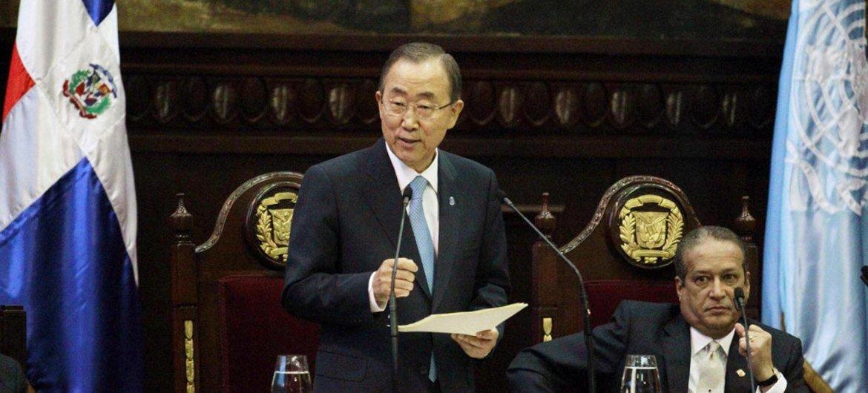 Secretary-General Ban Ki-moon addresses the Senate of the Dominican Republic.