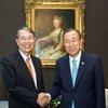Secretary-General Ban Ki-moon (right) and ICC President Sang-Hyun Song (August 2013).