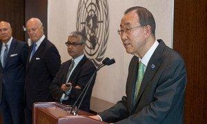 Secretary-General Ban Ki-moon briefs reporters on crash of Malaysia Airlines flight.