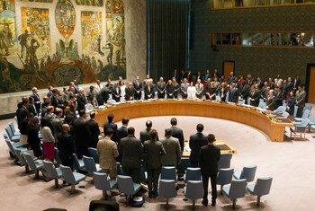 安理会成员起立默哀。