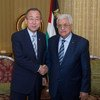 Ban Ki-moon y Mahmoud Abbas en Doha, Qatar. Foto: ONU-Eskinder Debebe