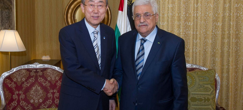 Secretary-General Ban Ki-moon meets with Palestinian President Mahmoud Abbas in Doha, Qatar.