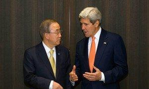 Secretary-General Ban Ki-moon with US Secretary of State John Kerry in Jerusalem, Israel.