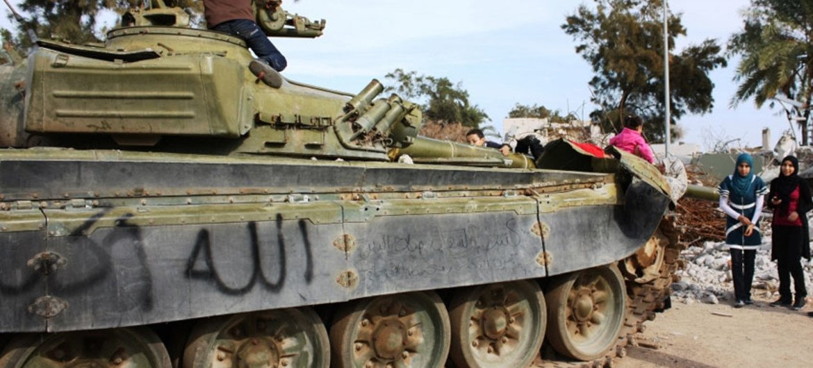 Children play on a tank in the remains of what used to be Muammar Gaddafi's Bab-al-Azzizeya compound in Libya's capital, Tripoli (November 2011).