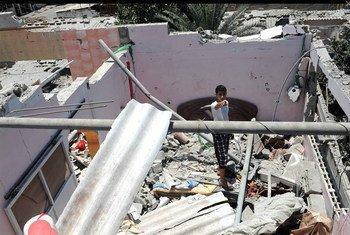 Destrozos causados por bombardeos israelíes en Gaza   Foto: UNRWA