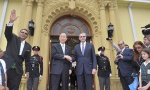 Secretary General meets the Foreign Minister of Costa Rica, 30 July 2014.
