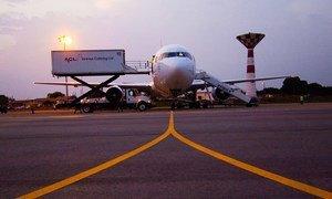 Aircraft on runway.