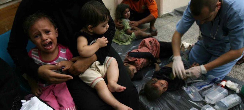 Médicos atienden a niños heridos en un bombardeo israelí en Rafah, Gaza  Foto:UNICEF/Eyad El Baba