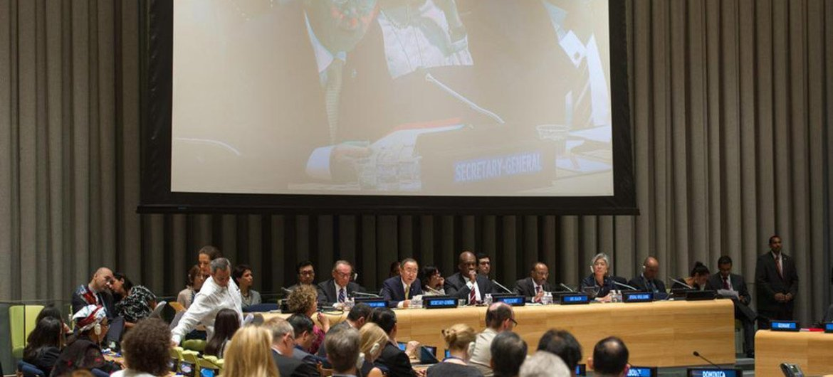 Secretary-General Ban Ki-moon (on monitor) addresses an informal meeting of the General Assembly on the conflict in Gaza.