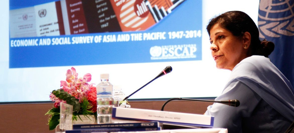 UNESCAP Executive Secretary Shamshad Akhtar launches the Economic and Social Survey for Asia and the Pacific 2014 at a press conference in Bangkok, Thailand.