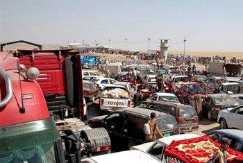 Le point de contrôle de Khazair entre l'Iraq et la région du Kurdistan a vu passer des centaines de milliers de déplacés fuyant l'avancée de l'Etat islamique.