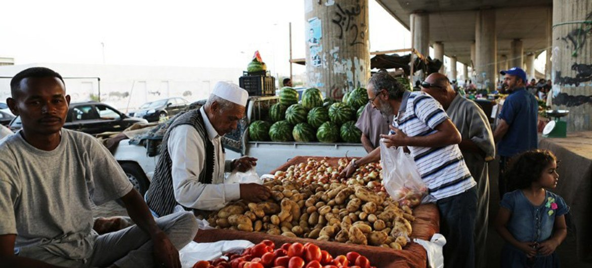 Shoppers at a market in the Libyan capital Tripoli.
