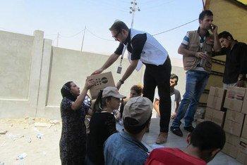 Distribution d'assistance humanitaire à des personnes déplacées à Sharia, en Iraq. Photo UNFPA Iraq