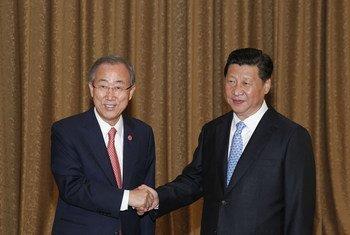 中国国家主席习近平与联合国秘书长潘基文会晤资料图片。联合国图片/P. Figuerias