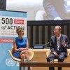 El Secretario General de la ONU, Ban Ki-moon, durante un evento con la activista paquistani Malala Yousafzai con motivo de los 500 dias para lograr los ODM   Foto: Mark Garten