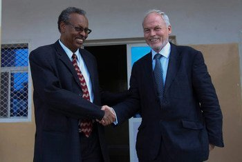 Special Representative for Somalia Nicholas Kay meets Somaliland's Foreign Minister Mohamed Bihi Yonis, on his arrival in the capital, Hargeisa, on 18 August 2014.