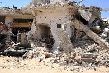 Vivienda destruida en Gaza durante el operativo militar israelí.
