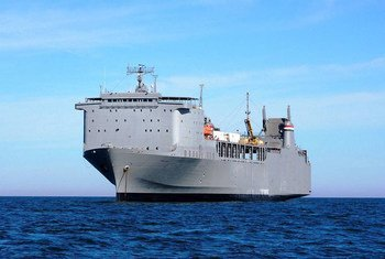 The US Vessel Cape Ray, on which all 581 metric tonnes of a precursor chemical for sarin gas were removed from Syria and  safely destroyed as the ship sailed in international waters in 2014.