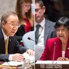 Security Council Meeting, 21 August 2014, with Secretary-General Ban Ki-moon (left) and High Commissioner for Human Rights Navi Pillay.