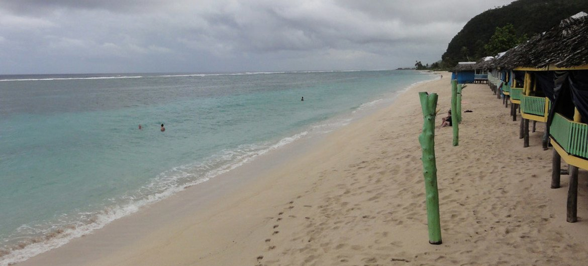Taufua Beach, Samoa, is recovering from a tsunami which struck the area in 2009. The country hosts the Third UN Conference on Small Island Developing States, which will take place from 1 to 4 September 2014 in the capital Apia.
