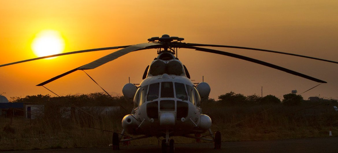 MI-8 helicopter of the United Nations Mission in South Sudan (UNMISS), in Juba.