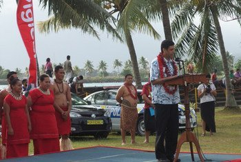 Under-Secretary-General Acharya addresses opening of the Private Sector Partnerships Forum in Apia, Samoa. Photo by R. Dunn