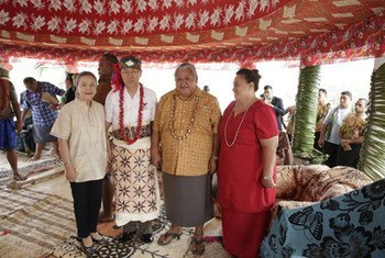 Secretary-General Ban Ki-moon was given the title of 'Tupua' or 'chief' during a traditional ceremony in Saleapaga, Samoa, ahead of the UN small islands conference, 31 August 2014.