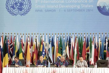 Secretary-General Ban Ki-moon (2nd from left)at the opening of the UN Conference on Small Island Developing States in Samoa.