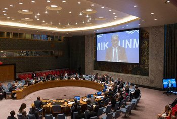 A view of the Security Council Chamber as Farid Zarif (shown on screen), Special Representative of the Secretary-General and Head of the United Nations Interim Administration Mission in Kosovo (UNMIK), briefs the Council.