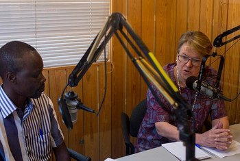 Head of the United Nations Mission in South Sudan (UNMISS), Ellen Margrethe Løj (right) being interviewed on Radio Miraya.