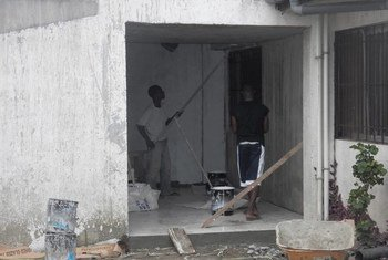 Local construction workers at the Island Clinic, one of the five Ebola treatment centres with 100 beds that will be opened in Monrovia, Liberia.