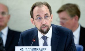 New UN High Commissioner for Human Rights Zeid Ra'ad Al Hussein speaks at the opening of the twenty-seventh session of the Human Rights Council in Geneva, Switzerland.