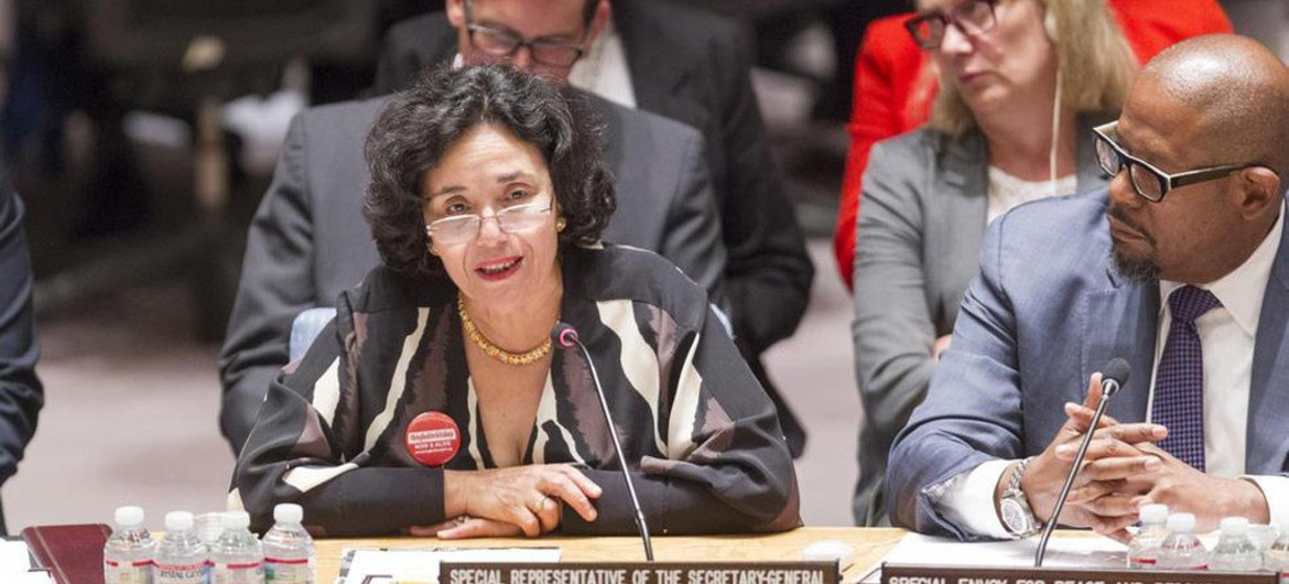 Special Representative for Children and Armed Conflict Leila Zerrougu (left) addresses the Security Council.