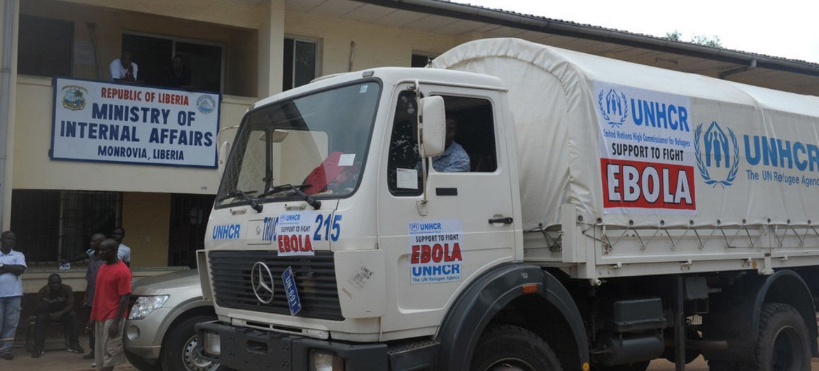 UNHCR has donated a truck to the Liberian Ministry of Internal Affairs to use in the fight against the deadly Ebola virus disease.
